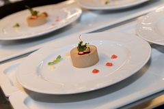 Gourmet pate starter in a restaurant kitchen, catering business royalty free stock photo