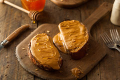 Gourmet Peanut Butter and Honey Toast Stock Photo