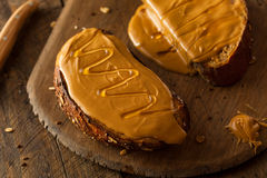 Gourmet Peanut Butter and Honey Toast Royalty Free Stock Photo