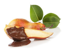 Gourmet pear with chocolate Stock Photos