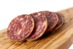 Gourmet Pepper Salami with garlic Stock Photography