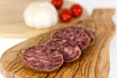 Gourmet Pepper Salami with garlic Stock Images