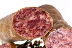 Gourmet Pepper Salami with garlic Royalty Free Stock Images