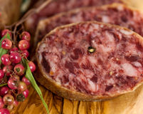 Gourmet Pepper Salami with garlic Royalty Free Stock Photo