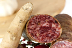 Gourmet Pepper Salami with garlic,isolated Stock Photos