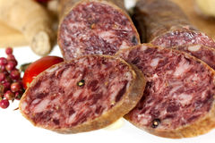 Gourmet Pepper Salami with garlic,isolated Royalty Free Stock Photos