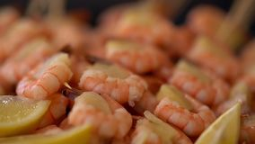 Gourmet pink prawn starter with filling. In a closeup view on a buffet table served with wedges of fresh lemon stock video footage