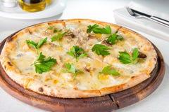 Gourmet- pizza med gorgonzola och porcinivitchampinjoner dekorerade med persiljasidor på det tjänade som träbrädet på Royaltyfri Foto