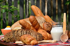 Gourmet plate: bakery goods and ingredients Royalty Free Stock Images