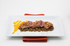 Gourmet plate meat with lentil. A gourmet dish, meat with lentil and mustard Royalty Free Stock Photos
