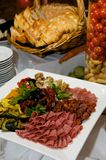 Gourmet Plate Of Meats And Olives Stock Image