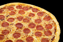 Gourmet plate. Thinly sliced pepperoni is a popular pizza topping in American-style pizzerias detail stock photo