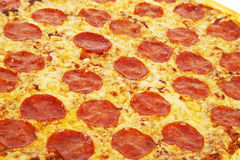 Gourmet plate. Thinly sliced pepperoni is a popular pizza topping in American-style pizzerias detail stock photography