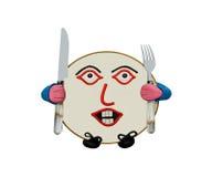 Gourmet- platta. hungrigt humoristiskt tecken royaltyfri illustrationer