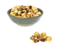 Gourmet popcorn with nuts in a bowl Royalty Free Stock Photography