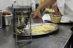 Gourmet potato chip nests elaboration. stock photos