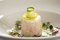 Gourmet prawn dish in restaurant Royalty Free Stock Photography