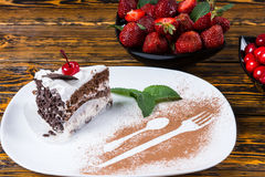 Gourmet presentation of fresh chocolate cake Stock Images