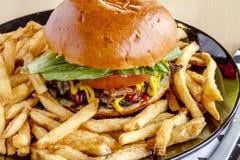 Gourmet Pub Hamburger and Fries Stock Image
