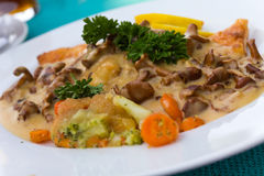 Gourmet Ragout of Fish  Dore  with Cream Sauce Royalty Free Stock Images