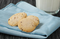 Cookies and milk on a napkin Stock Photography