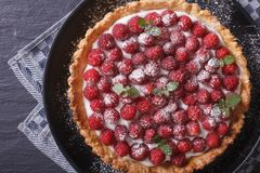Gourmet raspberry tart with whipped cream close-up. Horizontal t Stock Image