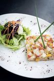 Gourmet raw tuna tartare ceviche with mango lime and chilli Royalty Free Stock Photography