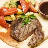 Gourmet restaurant food, bbq steak. And vegetables stock photo