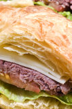 Gourmet roast beef sandwich on croissant Royalty Free Stock Photography