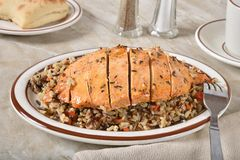 Healthy roasted rosemary chicken with rice dinner stock image