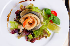 Gourmet Rolled Fish Meat with Shrimp Dish Stock Images