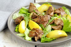 Gourmet salad with a roasted chicken liver Stock Photos