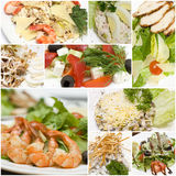 Gourmet salads collage - European cuisine Royalty Free Stock Photos