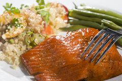 Gourmet Salmon Dinner Stock Photo
