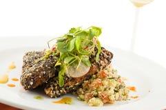 Gourmet salmon dish. Stock Image