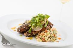Gourmet salmon dish. Stock Images