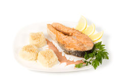 Gourmet salmon steak Stock Photography
