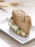 Gourmet sandwich. A roquefort,green apple and walnut sandwich in a white plate royalty free stock image