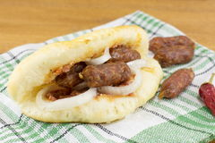 Gourmet sandwich with special small sausages Stock Images