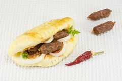 Gourmet sandwich with special small sausages Royalty Free Stock Photo