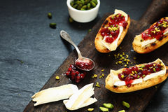 Gourmet sandwiches with camembert and cranberries Stock Images