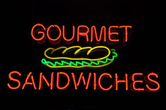Gourmet Sandwiches Neon Sign Royalty Free Stock Images