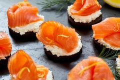 Gourmet seafood canapes with smoked salmon Stock Images