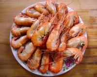 Gourmet seafood meal - many shrimps Stock Photos