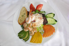 Gourmet seafood salad. Beautifully displayed plate of seafood salad Royalty Free Stock Photo