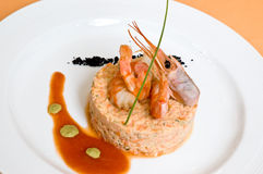 Gourmet seafood with shrimp Stock Photography
