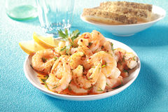 Gourmet seafood starter of grilled pink prawns Stock Images
