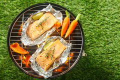 Gourmet seafood summer barbecue Royalty Free Stock Photos