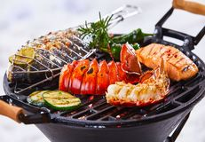 Gourmet seafood winter barbecue stock image
