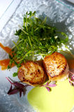 Gourmet seared scallops with garnishes Royalty Free Stock Photos